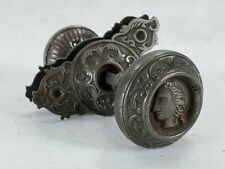 Antique Pair Figural Doorknobs with Back Plates