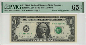 2009 $1 FEDERAL RESERVE NOTE BOSTON RADAR SERIAL PMG GEM UNC 65 EPQ (847A)