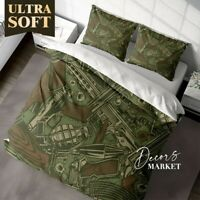 Knife Grenade Art Fantasy Green Quilt Cover Sets With 2X Matching Pillow Shams