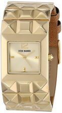 NEW-STEVE MADDEN PYRAMID GOLD TONE,FAUX BROWN LEATHER BAND WATCH SMW00057-02