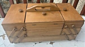 Vintage Poland Wood Accordion 3 Tier Fold Out Sewing Box with Feet VG condition