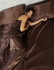 Completo matrimoniale lenzuola letto in raso moro set biancheria federe cuscini