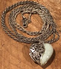 "Vintage marcasite Jade HEART Locket Necklace Sterling 925 Thailand 38"" ITALY MOM"