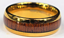 Tungsten Carbide Rings 8mm Koa Wood Inlay Gold Plated Wedding Band Ring