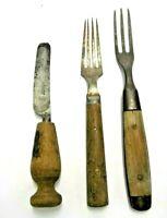MARSHES & SHEPHERD KNIFE & 2 FORKS HANDMADE SILVERWARE FLATWARE METAL & WOOD OLD