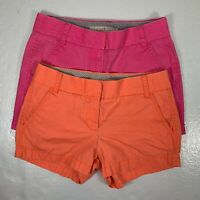 Lot of 2 J Crew Womens Size 0 Shorts Chino Broken In Casual Orange Pink