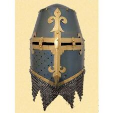 CRUSADER GREAT HELMET King Helmet With Brass And Chain Mail Costumes