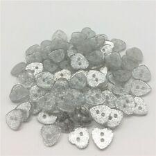 10 BOUTON FORME COEUR 12 x 13 mm paillette argent COUTURE GILET LAYETTE TRICOT