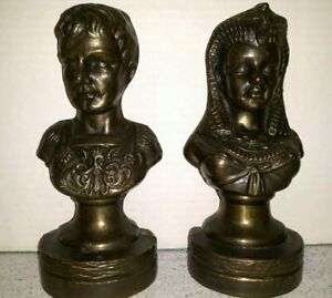 Vintage Cleopatra & Marc Anthony Bust Statues Bronze Brass Weighted Bookends