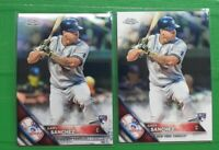 (2) 2016 Topps Chrome GARY SANCHEZ Silver Refractor RC, Base #143 NY Yankees LOT