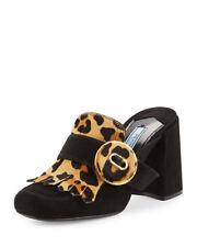 Prada Leopard-Print Fringed Loafer Mule, Black MSRP: $950.00 Size 38