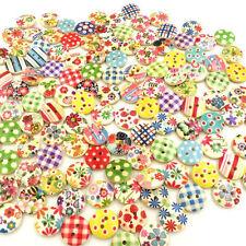 100 pièce mixte 2-trous boutons en bois de couture des métiers de Scrapbooking