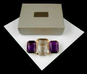AMETHYST and TOPAZ RHINESTONE Pin Detailed Brooch Rhinestone Antique Purple Goldentone Gift for Her Pierced Earrings 805 Beautiful