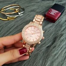 Women's Luxury Crystal Encrusted Rose Gold Stainless Steel Watch