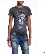 NWT Women's Sinful  Painted Desert Tee Shirt Top M Grey Burnout