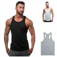 New Mens Plain Muscle Tank Singlet Sleeveless Top Bodybuilding Gym Vest T-Shirt