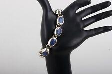 Mexico Bracelet Fine 925 6419B Sterling Silver Sodalite Inlaid Stones Link