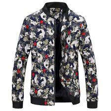 Men's Printed Slim Fit Long sleeve Stand collar Baseball Jacket Zipper Casual L