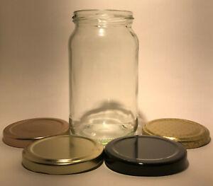 1lb (16oz)  ROUND GLASS JAM JAR  & A CHOICE OF LIDS -  CHOOSE QUANTITY 16-240