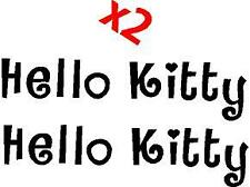 p133 2 x Hello Kitty Letras Pegatina Adhesivo Sticker Vinilo Logo Pared Cristal
