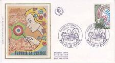 Enveloppe maximum 1er jour FDC Soie 1978 Fleurir la France