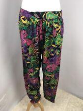 VTG 80s HIP HOP Tribal Lounger Pants S Floral Parachute Tapered Pants CUTE!!