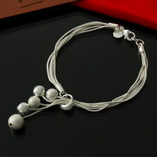 925 Sterling Silver Plated Multi Chain and Ball Lariat style Bracelet Gift
