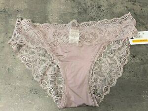 NEW Calvin Klein Seductive Comfort Lace Bikini Sz S QF1200 Violet dust Burgundy
