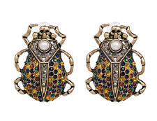 NEW Skull Beetle Insect Large McQueen Style Vintage Rhinestone Stud Earrings