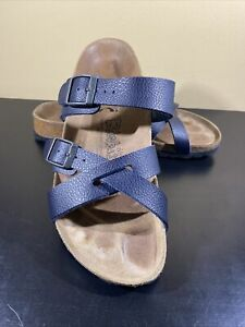 Birki's by Birkenstock Blue Leather Strappy Sandal Women Size 7 EU 38