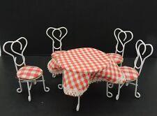 Vintage Dollhouse Ice Cream Parlour Set Table Chairs Metal 1:12