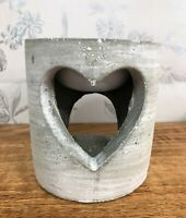 Concrete Industrial Style Heart Wax Melt | Oil Burner Pot ~  Pink Grey or Blue