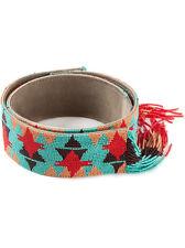 Etro Embellished Tribal Navajo Native American Beaded Blue Red Fringe Belt XS 0