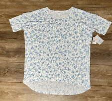 LuLaRoe IRMA Tunic Shirt Top SIZE XL White with Blue Floral Pattern NWT