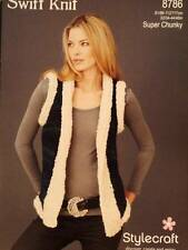 Stylecraft Ladies Gilet Swift Knit Super Chunky Yarn Knitting Pattern 8786