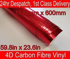 4D Fibra Di Carbonio Vinile Avvolgere Film Cromato Rosso 600mm (23.6 in) x 1520mm (59.8 in)