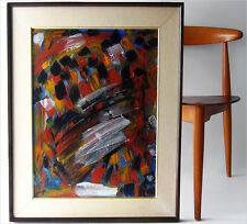 SIGNED 86' ABSTRACT EXPRESSIONISM OIL PAINTING LIKE DE KOONING K.APPEL EAMES ERA
