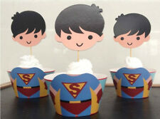 12x SUPERMAN SUPERHERO Children Birthday Cupcake Cake Wrapper & Toppers *NEW*