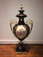 Antique Hand Painted Courting Scene Cobalt Blue French Urn