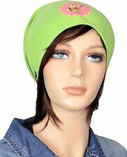 Damen Beanie Mütze Jersey grün mit Aufdruck Buddha