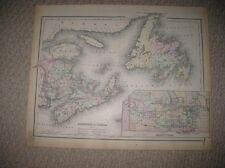 LARGE ANTIQUE 1886 NEW BRUNSWICK NOVA SCOTIA NEWFOUNDLAND MANITOBA COLTON MAP NR