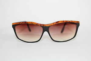 Foster Grant Vintage Sunglasses Black & Orange Rectangle Pink Fade Lens