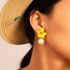 Women Enamel Flower Big Pearl Earrings Ear Stud Dangle Elegant Fashion Jewelry