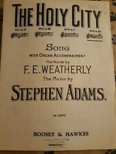 New ListingVintage Sheet Music- The Holy City (Weatherly/Adams) Song w/Organ Acc.