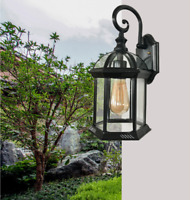 E27 Rustic Lantern Lamp Industrial Retro Iron Wall Mount Sconce Vintage Light
