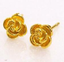 New Women's girl Men Unisex 24K Gold Plated 6mm Rose Flower Charm Stud Earrings