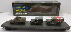Weaver U2528LD O US Army Flat Car with Vehicles [3Rail] LN/Box