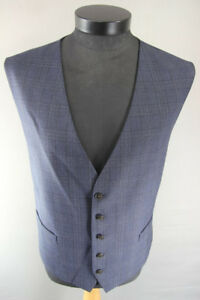 BRAND NEW GARETH SOUTHGATE ENGLAND STYLE BLUE CHECKED WOOL BLEND WAISTCOAT 50 IN