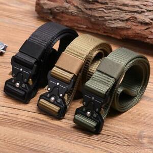 "1.5"" Nylon Tactical Waist Belt Men Metal Buckle Outdoor Military Training Girdle"