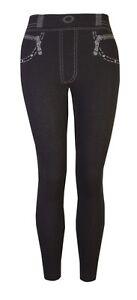 Womens Thick Leggings Fleece Lined Winter Leggins Warm Black Jeggins Ladies 8-14